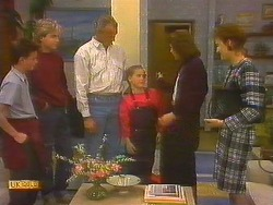 Todd Landers, Nick Page, Jim Robinson, Katie Landers, Beverly Robinson, Gail Robinson in Neighbours Episode 0858