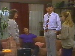 Beverly Robinson, Malcolm Clarke, Des Clarke, Bronwyn Davies in Neighbours Episode 0860