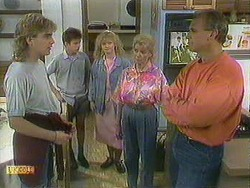 Nick Page, Todd Landers, Sharon Davies, Helen Daniels, Jim Robinson in Neighbours Episode 0901