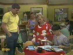 Des Clarke, Bronwyn Davies, Sharon Davies, Hilary Robinson in Neighbours Episode 0903