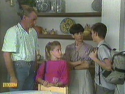 Jim Robinson, Katie Landers, Hilary Robinson, Todd Landers in Neighbours Episode 0908