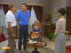 Harold Bishop, Des Clarke, Sharon Davies, Hilary Robinson in Neighbours Episode 0914