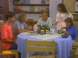 Todd Landers, Nick Page, Jim Robinson, Madeline Price, Katie Landers in Neighbours Episode 0915