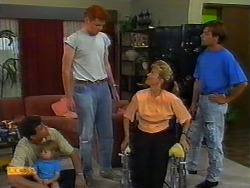 Des Clarke, Jamie Clarke, Angus Owens, Jenny Owens, Mike Young in Neighbours Episode 0917