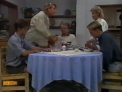 Todd Landers, Nick Page, Jim Robinson, Scott Robinson, Helen Daniels in Neighbours Episode 0919