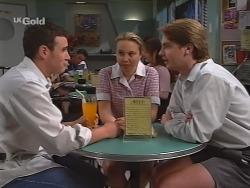 Stonie Rebecchi, Libby Kennedy, Brett Stark in Neighbours Episode 2298