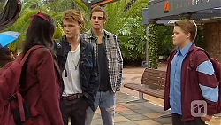Rani Kapoor, Harley Canning, Kyle Canning, Callum Jones in Neighbours Episode 6482