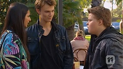 Rani Kapoor, Harley Canning, Callum Rebecchi in Neighbours Episode 6498