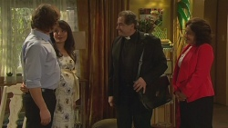 Lucas Fitzgerald, Vanessa Villante, Father Vincent Guidotti, Francesca Villante in Neighbours Episode 6523