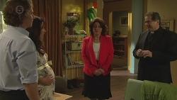 Lucas Fitzgerald, Vanessa Villante, Francesca Villante, Father Vincent Guidotti in Neighbours Episode 6523