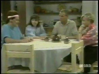 Laura Dennison, Nikki Dennison, Jim Robinson, Helen Daniels in Neighbours Episode 0217