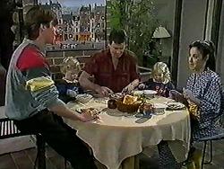 Mike Young, Jamie Clarke, Des Clarke, Sky Bishop, Kerry Bishop in Neighbours Episode 1021