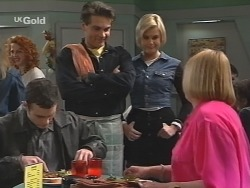 Stonie Rebecchi, Mark Gottlieb, Joanna Hartman, Angie Rebecchi in Neighbours Episode 2487