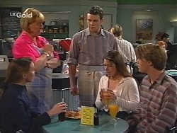 Libby Kennedy, Angie Rebecchi, Stonie Rebecchi, Melissa Drenth, Billy Kennedy in Neighbours Episode 2496