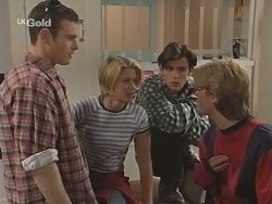 Stonie Rebecchi, Danni Stark, Malcolm Kennedy, Brett Stark in Neighbours Episode 2505