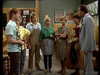 Clive Gibbons, Daphne Clarke, Shane Ramsay, Helen Daniels, Eileen Clarke, Nell Mangel, Mr. Archibald in Neighbours Episode 0250