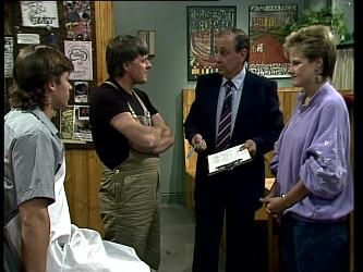 Mike Young, Tom Ramsay, Health Inspector, Daphne Clarke in Neighbours Episode 0252