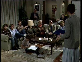 Charlene Mitchell, Scott Robinson, Clive Gibbons, Bradley Townsend, Jim Robinson, Helen Daniels, Tom Ramsay, Shane Ramsay, Madge Bishop, Jean Richards in Neighbours Episode 0279