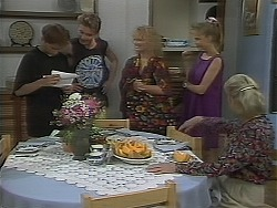 Todd Landers, Nick Page, Sharon Davies, Bronwyn Davies, Helen Daniels in Neighbours Episode 1114