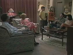 Harold Bishop, Madge Bishop, Toby Mangel, Lochy McLachlan, Joe Mangel, Kerry Bishop in Neighbours Episode 1122