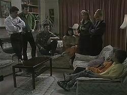 Paul Robinson, Des Clarke, Joe Mangel, Kerry Bishop, Bronwyn Davies, Melanie Pearson, Lochy McLachlan, Toby Mangel in Neighbours Episode 1123
