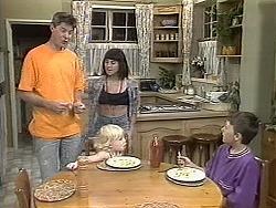 Joe Mangel, Sky Bishop, Kerry Bishop, Toby Mangel in Neighbours Episode 1132