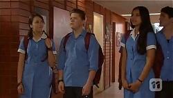 Sophie Ramsay, Callum Jones, Rani Kapoor in Neighbours Episode 6567