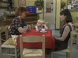Gloria Lewis, Sky Mangel, Kerry Bishop in Neighbours Episode 1135
