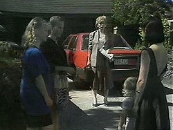 Sharon Davies, Bronwyn Davies, Beverly Robinson, Sky Bishop, Kerry Bishop in Neighbours Episode 1136