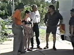 Joe Mangel, Kerry Bishop, Jim Robinson, Phil (removalist) in Neighbours Episode 1165