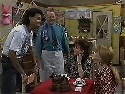 Eddie Buckingham, Harold Bishop, Christina Alessi, Melanie Pearson in Neighbours Episode 1179
