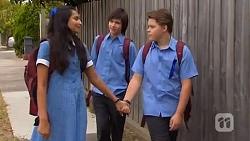 Rani Kapoor, Bailey Turner, Callum Jones in Neighbours Episode 6629