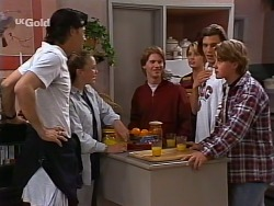 Sam Kratz, Libby Kennedy, Brett Stark, Danni Stark, Malcolm Kennedy, Billy Kennedy in Neighbours Episode 2275