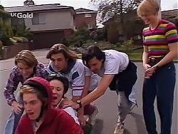 Billy Kennedy, Brett Stark, Libby Kennedy, Malcolm Kennedy, Sam Kratz, Danni Stark in Neighbours Episode 2275