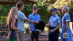 Georgia Brooks, Kyle Canning, Lachie Maroon, Snr. Const. Kelly Merolli, Amber Turner in Neighbours Episode 6638