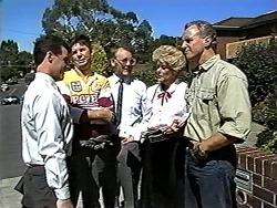 Paul Robinson, Joe Mangel, Harold Bishop, Madge Bishop, Jim Robinson in Neighbours Episode 1194