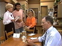 Madge Bishop, Eddie Buckingham, Sharon Davies, Harold Bishop in Neighbours Episode 1195