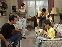 Matt Robinson, Kerry Bishop, Joe Mangel, Bouncer, Toby Mangel in Neighbours Episode 1195