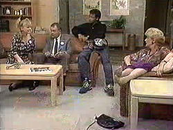 Sharon Davies, Harold Bishop, Eddie Buckingham, Madge Bishop in Neighbours Episode 1208