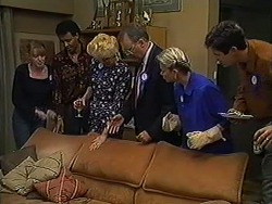 Melanie Pearson, Eddie Buckingham, Madge Bishop, Harold Bishop, Helen Daniels, Joe Mangel in Neighbours Episode 1209