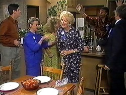 Joe Mangel, Helen Daniels, Sharon Davies, Madge Bishop, Eddie Buckingham, Harold Bishop in Neighbours Episode 1210