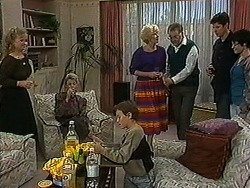 Sharon Davies, Helen Daniels, Toby Mangel, Madge Bishop, Harold Bishop, Joe Mangel, Kerry Bishop in Neighbours Episode 1211