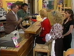 Harold Bishop, Eddie Buckingham, Madge Bishop, Sharon Davies, Caroline Alessi in Neighbours Episode 1214