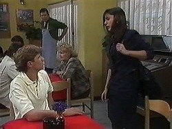 Ryan McLachlan, Des Clarke, Candice Hopkins in Neighbours Episode 1218