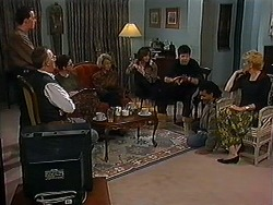 Matt Robinson, Harold Bishop, Dorothy Burke, Helen Daniels, Caroline Alessi, Joe Mangel, Eddie Buckingham, Madge Bishop in Neighbours Episode 1223