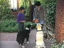 Toby Mangel, Rosie, Kerry Bishop, Bouncer in Neighbours Episode 1235