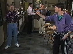 Harold Bishop, Eddie Buckingham, Clarrie McLachlan, Joe Mangel in Neighbours Episode 1235