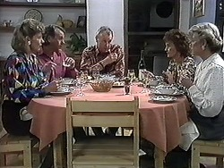 Beverly Marshall, Doug Willis, Jim Robinson, Pam Willis, Helen Daniels in Neighbours Episode 1261