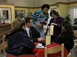 Melanie Pearson, Paul Robinson, Eddie Buckingham, Christina Alessi, Caroline Alessi in Neighbours Episode 1284