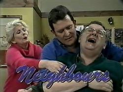 Madge Bishop, Des Clarke, Harold Bishop in Neighbours Episode 1293